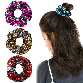 New arrival Fashion women lovely solid sequin Hair bands vintage hair scrunchies girl's hair Tie Accessories Ponytail Holder image