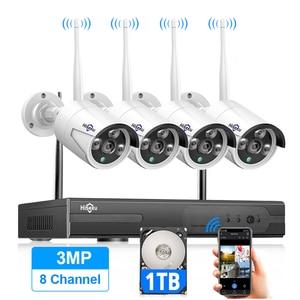 Hiseeu 8CH Wireless CCTV System 1536P 1080P NVR wifi IR-CUT Outdoor 3MP AI IP CCTV Camera Security System Video Surveillance Kit