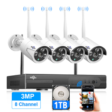 Hiseeu 8CH Wireless CCTV System 1536P 1080P NVR wifi IR CUT Outdoor 3MP AI IP CCTV Camera Security System Video Surveillance Kit