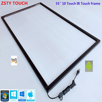 ZSTY Touch 55'' Infrared IR Touch Screen Overlay kit for 55 inch 10 points IR Touch Frame for interactive kiosk