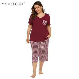 Image 2 - Ekouaer Mulheres Plus Size Conjuntos de Pijama Pijamas de Verão de Manga Curta Tops Listrado Capri Calças Pijama Terno Sleepwear Feminino