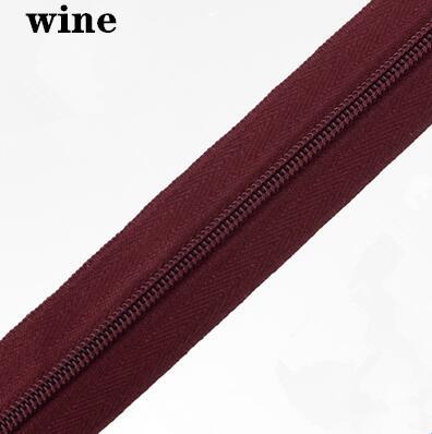 5 м длинная молния нейлон 3# пододеяльник подушка одеяло невидимая молния двойная молния черный и белый - Цвет: WINE