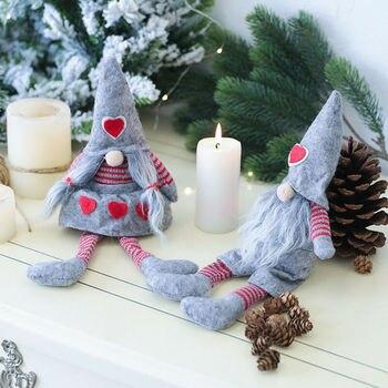 Muñeco de Navidad sin rostro ornamento nórdico tierra Dios Santa Claus colgante vacaciones largo sombrero sueco Santa Gnomo felpa árbol de Navidad Decoración