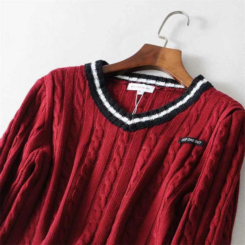 נשים ניגודיות פסים V צוואר יבול כבל סוודר עם שרוך מותניים