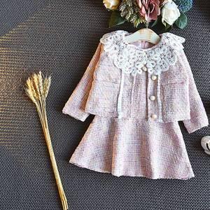 Image 3 - Sweet Fashion Princess Clothing Set For Girls Kids Children Baby Lace Dress+Long Sleeve Jacekt Coat Outwear 2pcs Suits S9638