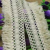 Cinta de encaje bordada de algodón con borla elegante, accesorios de costura hechos a mano, color Beige, 5/10/20/30/40/50 yardas