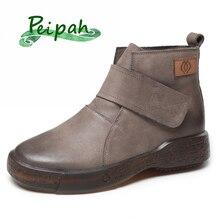 PEIPAH Genuine Leather Woman Ankle Flat Boots Retro Shoes Autumn Women Platform Boots Basic Round Toe Female Hook & Loop Shoes стоимость