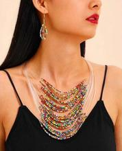 fashion Bohemian Multilayer Beads necklace shells Women Wedding Necklaces With Earrings Hollow Jewelry Sets