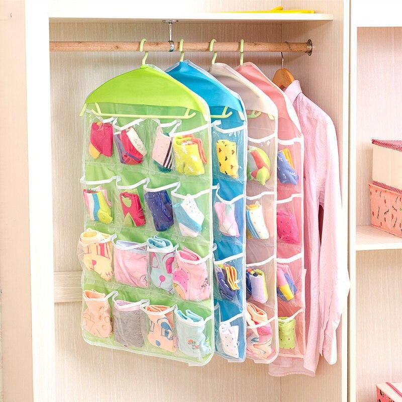 16 Pockets Foldable Hanging Bag Travel Organizer Socks Bra Underwear Rack Hanger Storage Bag Wardrobe Closet Door Storage Pouchs