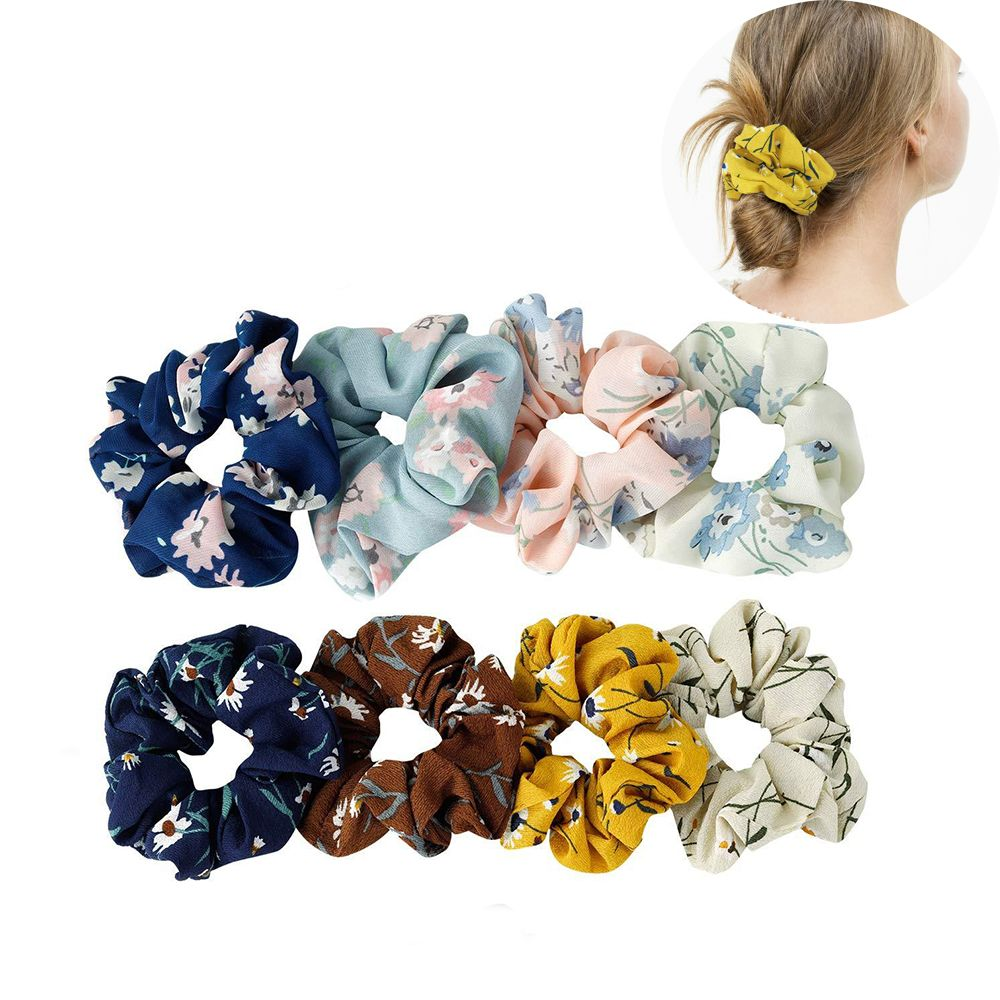Fashion Ponytail Holder Women Floral/Stripe Solid Elastic Hair Bands Scrunchies Tie Hair Rubber Headband Lady Hair Accessories