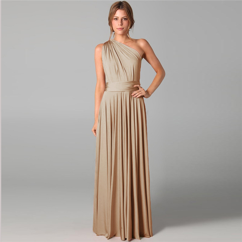 Beauty-Emily Long Sexy Cheap Bridesmaid Dresses Chiffon Sleeveless Lace Up Multiple Wearing Open Back Party Dress For Wedding