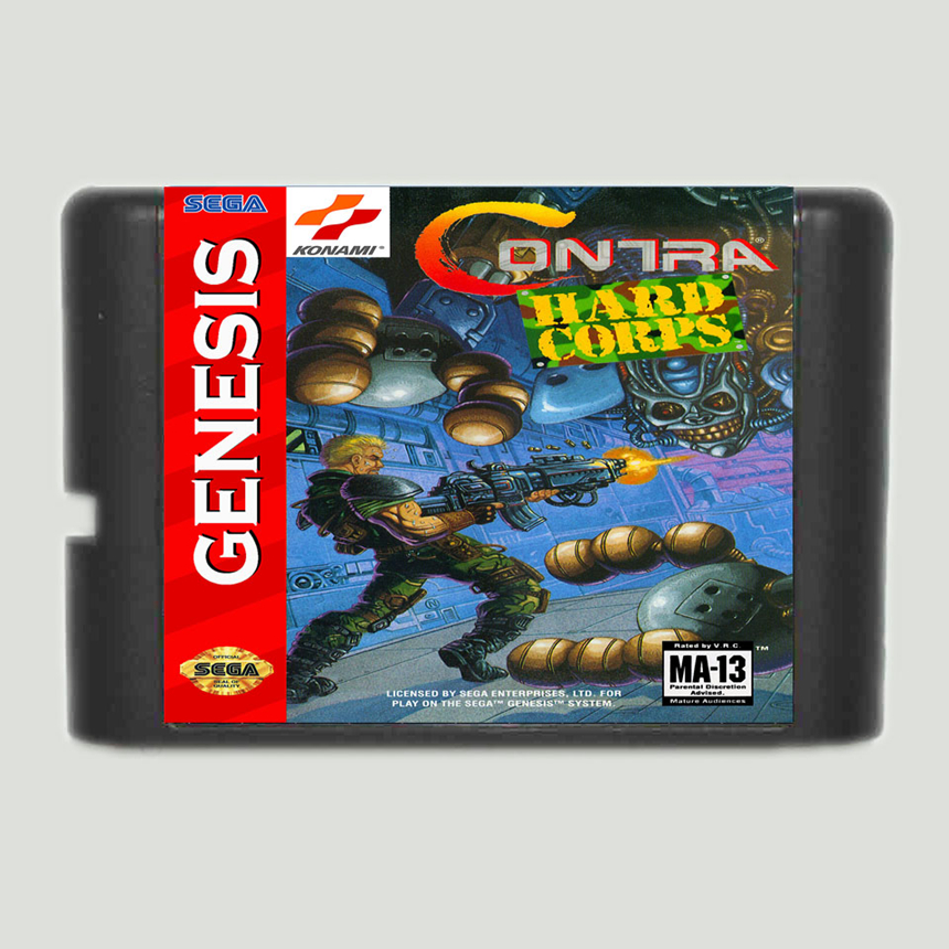 Contra The Hard Corps 16 Bit Game Card For Sega Mega Drive Sega Genesis