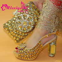 New Arrival GOLDEN PARTY African Matching Shoes and Bags Italian In Women Party Shoes and Bag Sets African Shoes and Bag Sets