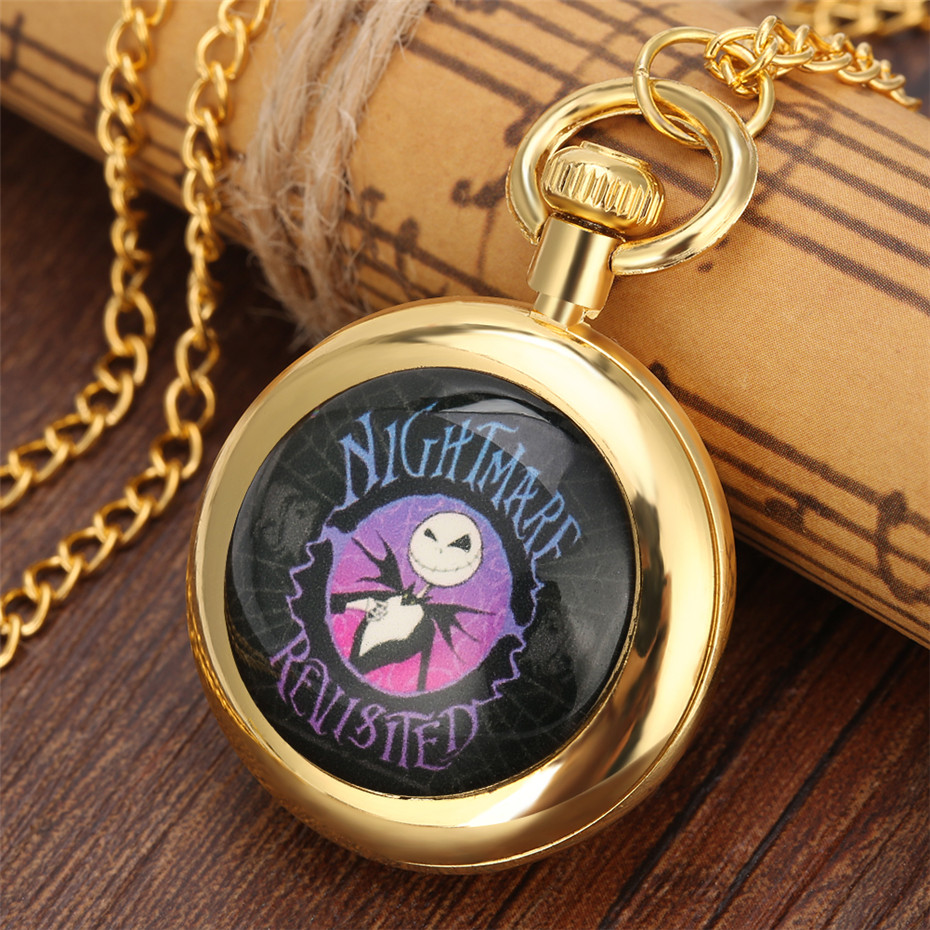 Hot New 2019 The Nightmare Before Christmas Theme Quartz Pocket Watch Open Face Roman Numerals Necklace Pendant Clock Gift Kids