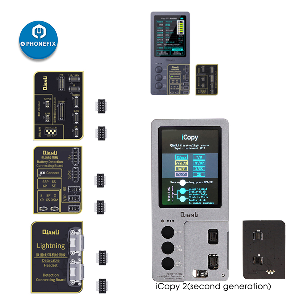 Qianli iCopy Plus for iPhone 7/8/8P/X/XR/XS/XS MAX/11 Pro 최대 LCD/진동기 전송 EEPROM 프로그래머 배터리/조명 보드 추가