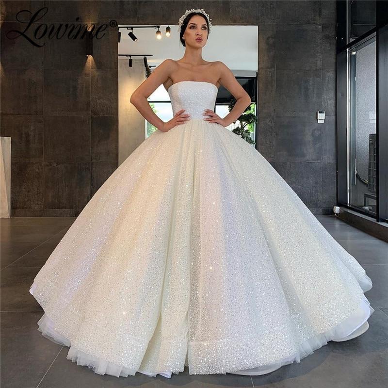 White Glitter Strapless Prom Dresses 2020 Abendkleider Middle East Women Kaftans Wedding Party Dress Dubai Evening Gowns Vestido