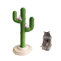 Pet Products Cactus Shaped Cat Hone Claws Furniture Scratching Post with Ball Toy Cats Playground Climbing Tree Tower