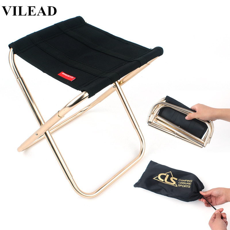 VILEAD 2 Size Folding Camping Stool Ultralight 7075 Aluminum Portable For Fishing Camping Picnic Tourist Outdoor Foldable Chair