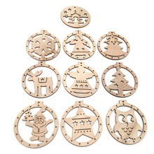 10PCS Christmas Wooden Hanging Decoration Tree Ornaments Xmas Festive Party Decor