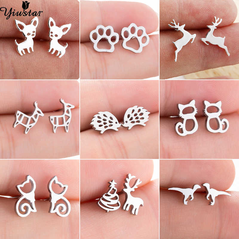 Yiustar New Cute Dog Stainless Steel Earrings for Women Girls Tiny Elegant Cat Rabbit Mickey Bird Deer Stud Earings Mini Jewelry