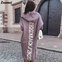 Cardigan lavorato a maglia donna con cappuccio lettera stampa maglioni allentati maniche lunghe a media lunghezza autunno moda coreana nuovo Streetwear per le donne