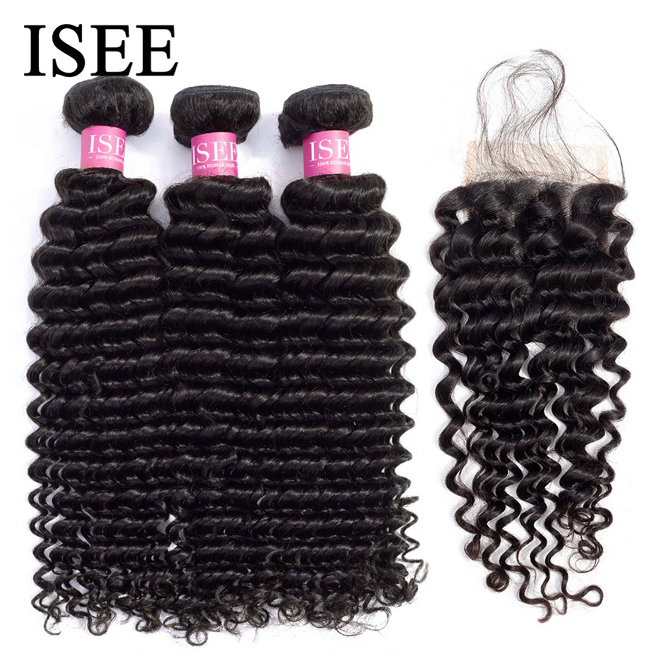 Deep Wave Bundles With Closure ISEE Hair With Closure Human Hair Bundles With Frontal Brazilian Hair Weave Bundles With Closure