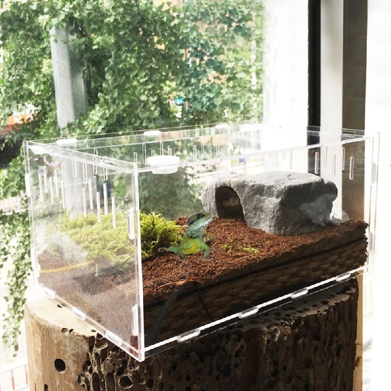 Transparent Acrylic Reptile Box For Spiders Tortoise Lizard Breeding Insect Box Vents Sliding Small Pet Terrarium Vivarium 2020