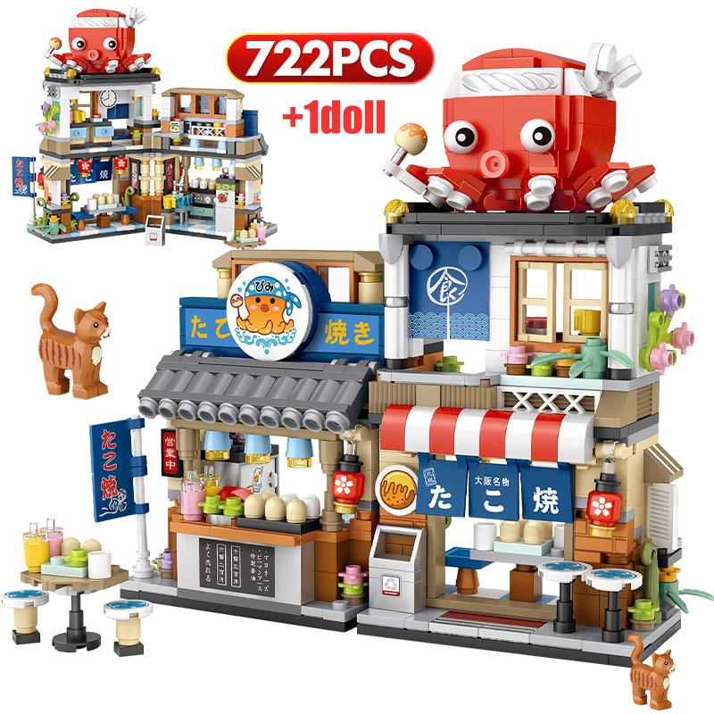 City Mini Street View Japanese Food Takoyaki Shaved Ice Shop Building Blocks Figures Bricks Toys For Children Christmas Gifts