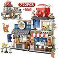 Город Мини Street View японской кухни такояки машина для изготовления ледяной магазин строительные блоки цифры Кирпичи игрушки для детей, подар...