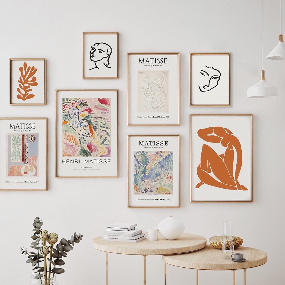 Vintage Henri Matisse Retro posterler ve baskılar soyut duvar sanat tuval baskılar Vintage Poster bej duvar resimleri ev dekorasyonu