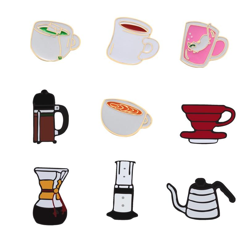 Cartoon Coffee Aero Press Chemex Filter Cup Teapot Brooches Enamel Pins Denim Jackets Lapel Pin Bag Badge Collar Corsage Jewelry