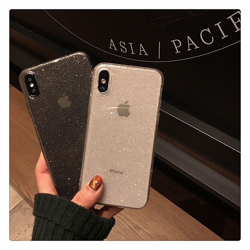 Hc7ae1df596e545d3974456374b9a5978a - Shining Glitter Powder Black Phone Case For iPhone 11 Pro XR XS Max 8 7 Plus 6S Transparent Soft TPU Shockproof Bling Back Cover
