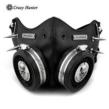 Masque Steampunk pour Cosplay, crâne, pour homme/femme, motif gothique en cuir