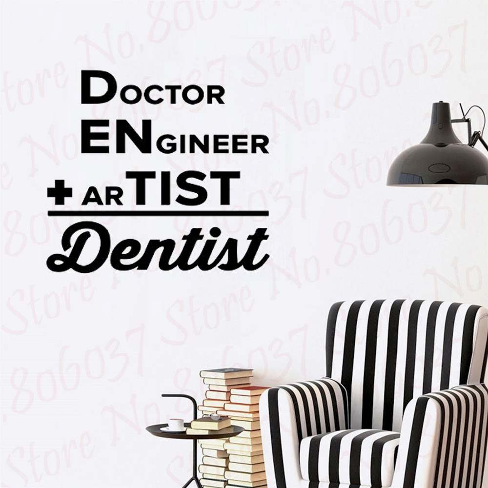 Teeth Dentistry Wall Stickers Vinyl Wall Decals Addition Dentist Dental Clinic Decor Tooth Wallpaper Bathroom Quote Decal WL802(China)