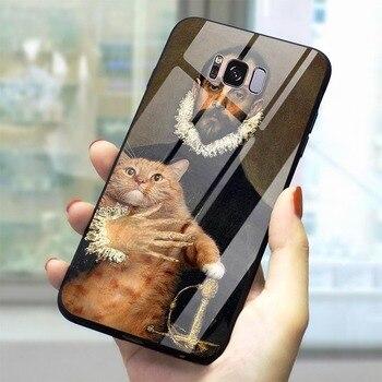 Funda de teléfono para Galaxy S9 Leonardo da Vinci Mona, funda de vidrio templado Note 8 9 S7 Edge S8/S9 Plus S10 A10/20/30/40/50/60/70 M40