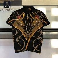 AELESEEN Women T shirt Black Print T shirts 2020 Summer Horse Chain Gothic Loose Punk Streetwear Female Clothes Vintage Tee