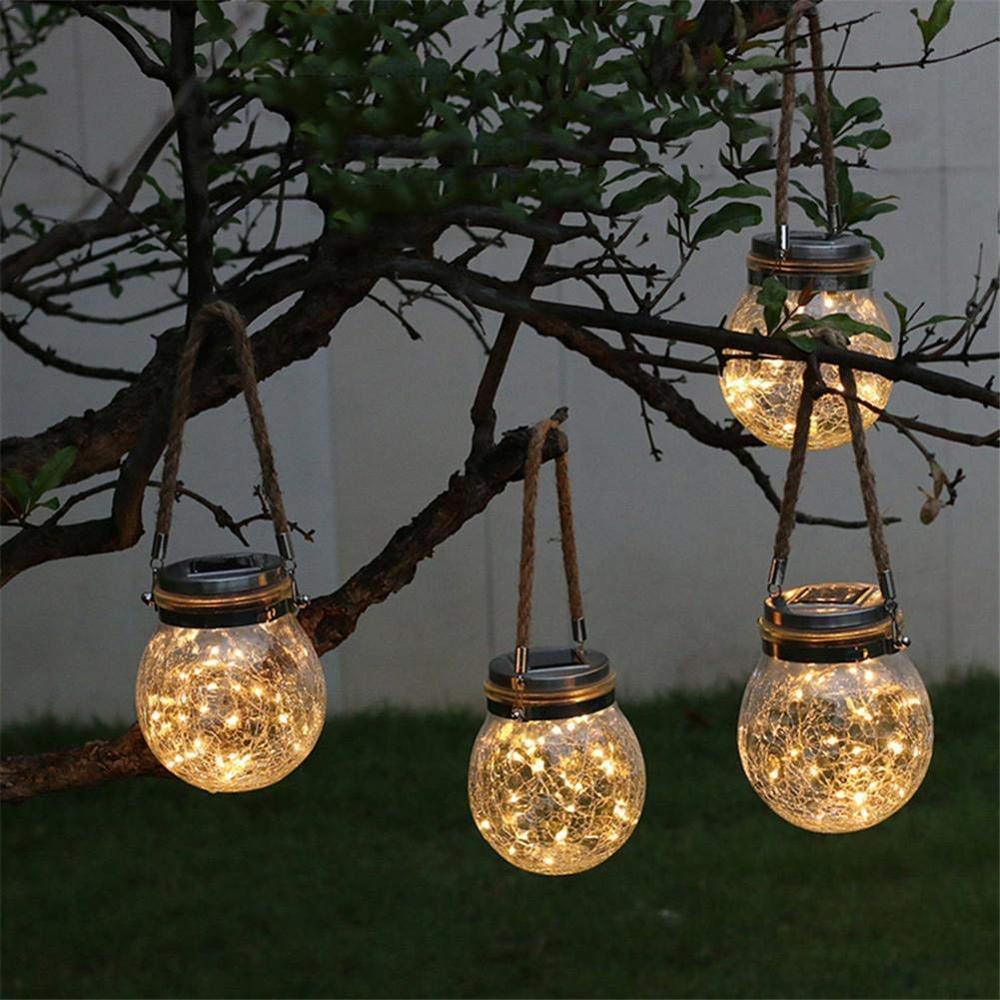 Hanging Solar Jar Lights Outdoor Hanging Lantern Decor Warm White for Patio