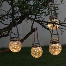 Led ソーラー妖精ライト搭載メイソンジャー屋外パティオパーティー結婚式庭中庭装飾的な led ランプ