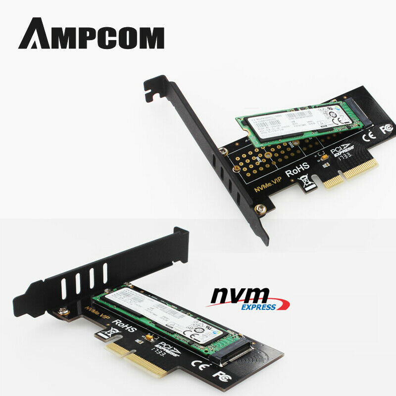 AMPCOM M.2 NVMe SSD Express Card M Key To PCIE 3.0 X4 Adapter External SSD Support 230-2280 Size M.2 FULL SPEED