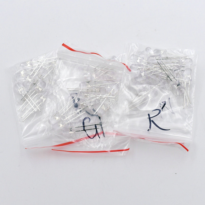 50PCS/Lot Light Emitting Diode Kit Transparent Round <font><b>5MM</b></font> <font><b>LED</b></font> Set <font><b>Red</b></font> Green Yellow Blue White 5Kinds Each 10 PCS Wholesale image
