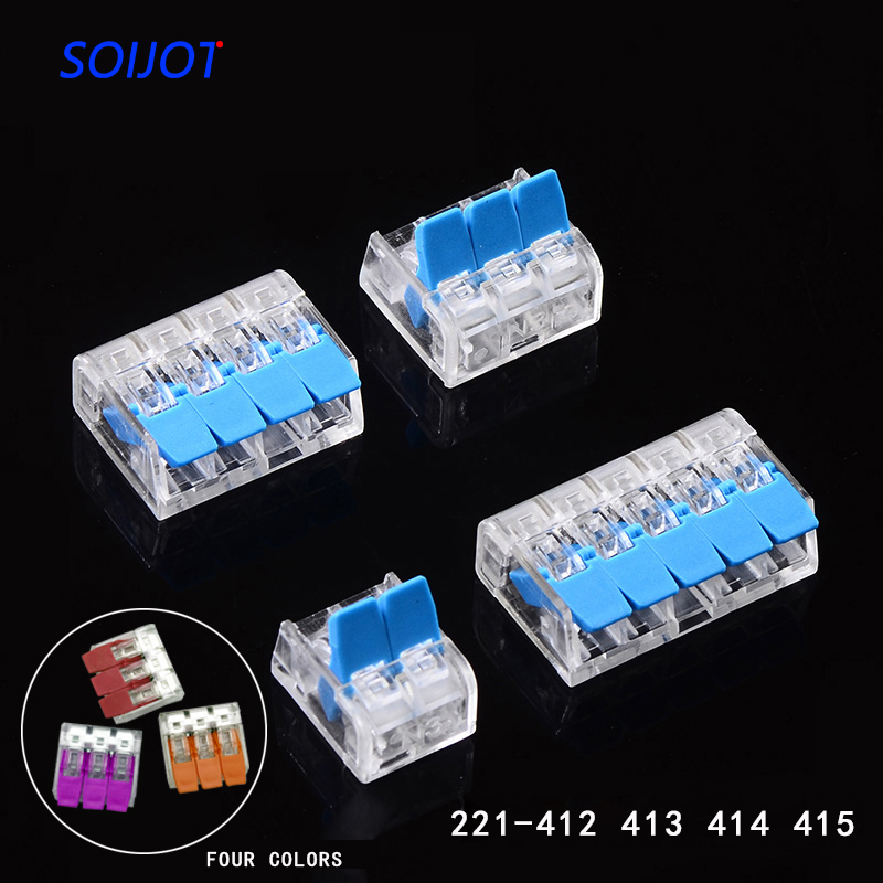 (30-100)pcs/lot  Mini Fast Wire Connector Universal Wiring Cable Connector Push-in Conductor Terminal Block 221-412 221-413 221-414 221-145