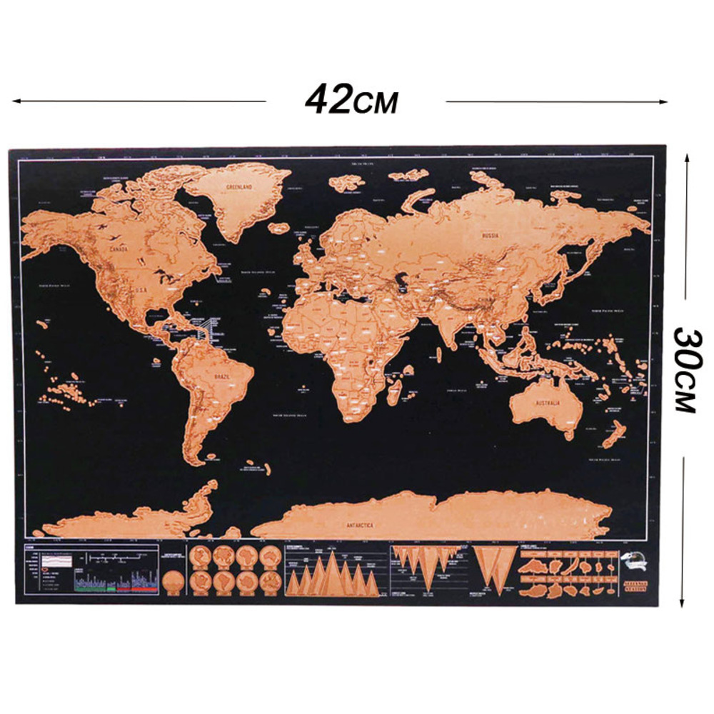 42x30cm Deluxe Erase World Travel Map Scratch Off World Map Travel Scratch For Map Room Home Office Decoration Wall Stickers