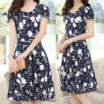 Dress Women Summer Short Sleeve Sunflower Print Dress Party Dresses Plus Size Sundress vestidos vestido mujer verano 25H 2020 new summer dresses women casual short sleeve o neck print a line dress large size streetwear sundress loose dress vestidos