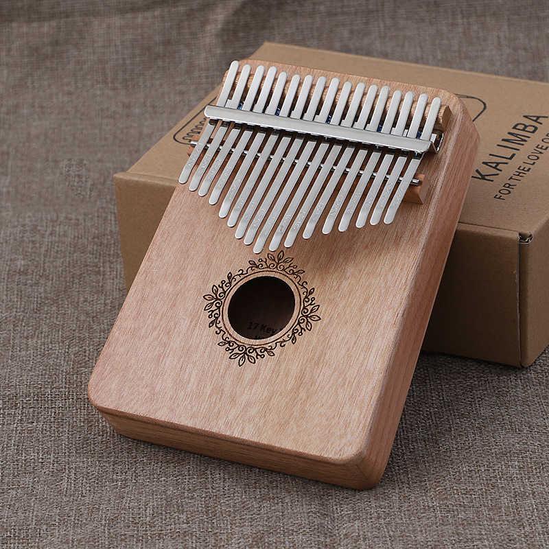 Kalimba 17 klawiszy kciuk fortepian wysokiej jakości drewno mahoń Mbira ciało Instrument muzyczny prezent z poradnik Tune Hammer