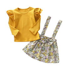 2pcs Toddler Kids Baby Girls Floral Clothes T-shirt Tops+Strap Dress Ruffle Long Sleeve Outfits gingham ruffle trim t shirt