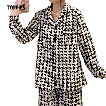 Toppies Spring Pajamas for Women Houndstooth Printing Sleepwear Female Casual Two Piece Set Sleep Tops