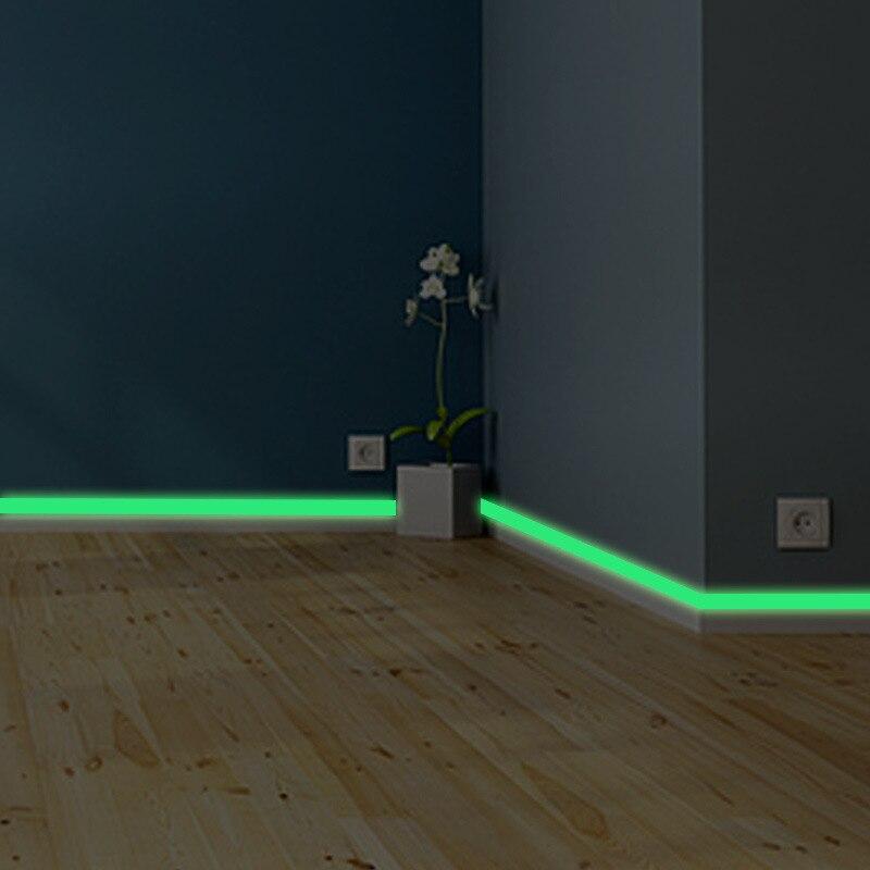 Banda luminosa zócalo pared pegatina sala de estar habitación ecológica calcomanía de decoración del hogar brillan en la oscuridad DIY tiras pegatinas