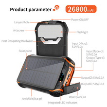 26800mAh Solar Power Bank Wireless Waterproof Powerbank Batt