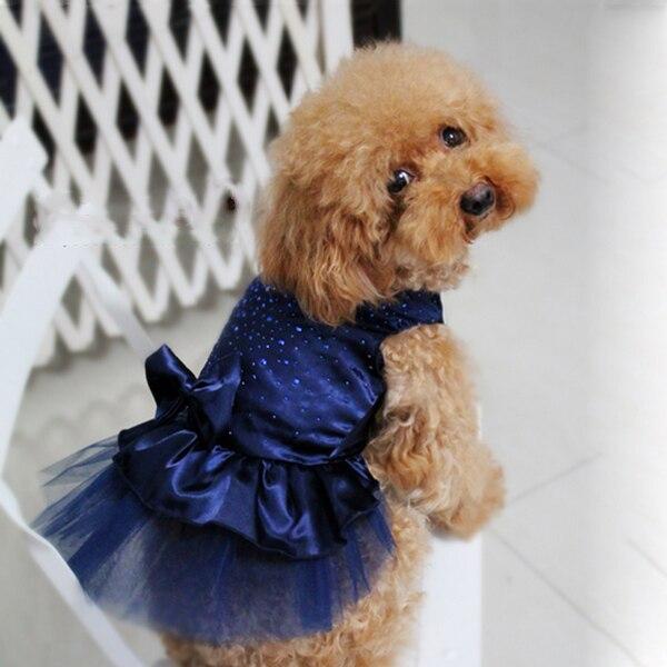 Mesh Princess Dog Dresses Summer Dog Clothes Bow Tutu Princess Dress Pup Lace Skirt Wedding Party Pet Apparel