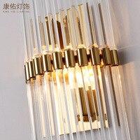Moderna lâmpada de parede cristal cromo arandela cabeceira sala estar lâmpada luz parede para decoração casa